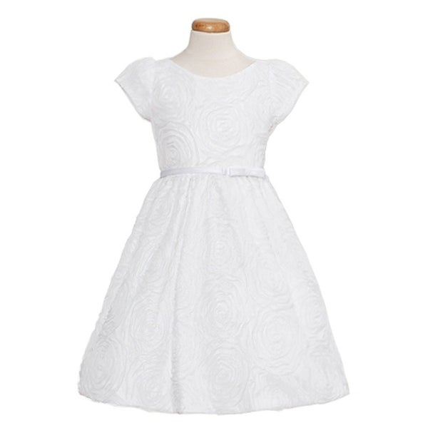 Sweet Kids Baby Girls Size 18M White Rosette Texture Mesh Easter Dress