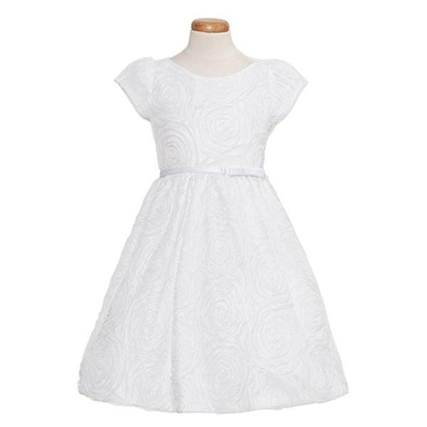 Sweet Kids Baby Girls Size 6M White Rosette Texture Mesh Easter Dress