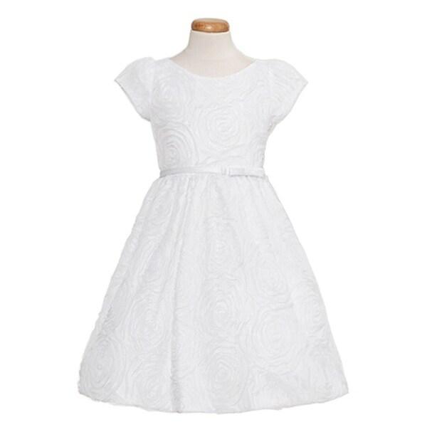 Sweet Kids Toddler Girls Size 2T White Rosette Mesh Easter Bow Dress