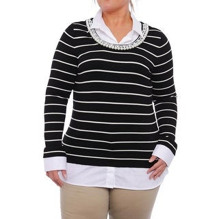 Charter Club Embellished Striped Pullover Sweater Women Regular Sweater