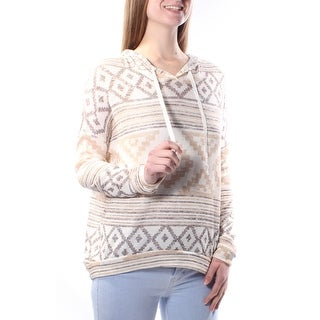 Womens Gray, Ivory Striped Long Sleeve Crew Neck Casual Top Size M
