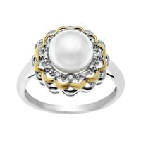 8 mm Pearl Flower Ring with Diamonds in Sterling Silver and 14K Gold