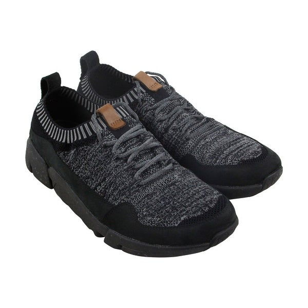 Clarks Triactive Knit Mens Black Textile Athletic Lace Up Training Shoes