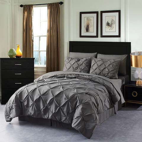 8 Piece Pinch Pleated Pintuck Comforter Set Q/K/Cal King