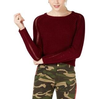 Freshman Womens Juniors Pullover Sweater Cropped Open-Stitch