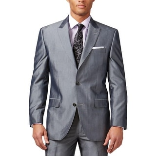 Sean John Mens Two-Button Suit Jacket Pinstripe Shiny