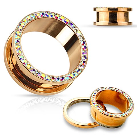 Crystal Rim Rose Gold IP Over 316L Surgical Steel Screw Fit Tunnel (Sold Individually)