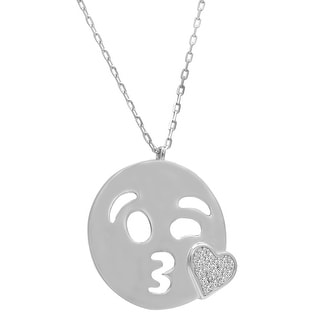 Amanda Rose Cubic Zirconia Kiss with a Wink Emoji Pendant-Necklace in Sterling Silver on an 18 inch chain