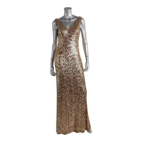 Lauren Ralph Womens Evening Dress Sequined V Neck