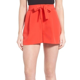 Kendall + Kylie NEW Red Womens Size Medium M High-Rise Pleated Shorts