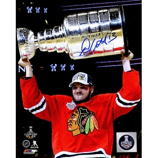 Daniel Carcillo Signed Chicago Blackhawks 2015 Stanley Cup Trophy 8x10 Photo