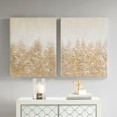 Madison Park Glimmer Hand Brushed Embellished Canvas Set of 2