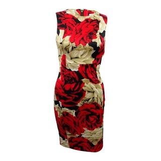 Calvin Klein Women's Floral-Print Scuba Sheath Dress - Red Multi