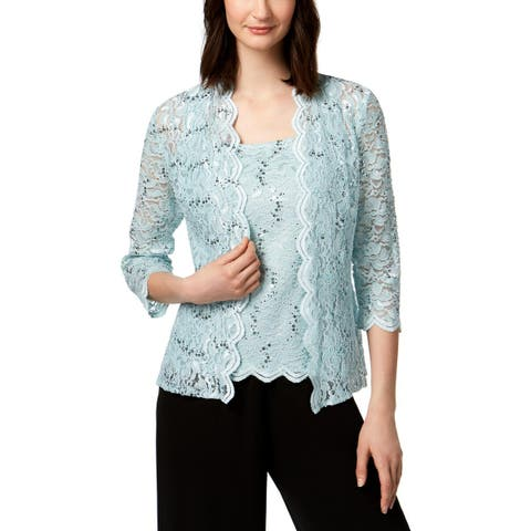 Alex Evenings Womens Twinset Lace Sequined - L