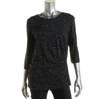 BOSS Hugo Boss Womens Eurane Printed Gathered Dress Top