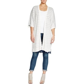 Three Dots Womens Fiona Cardigan Sweater Linen Reversible