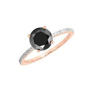 Prism Jewel 1.30 Carat Round Black Color Diamond with Diamond Solitaire Ring - White G-H