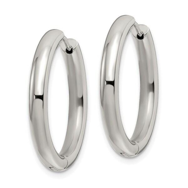 Stainless Steel Polished X Hinged Hoop Earrings