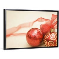 e538046e1d371 Floating Frame Premium Canvas with Black Frame entitled Christmas ornaments  - Multi-color