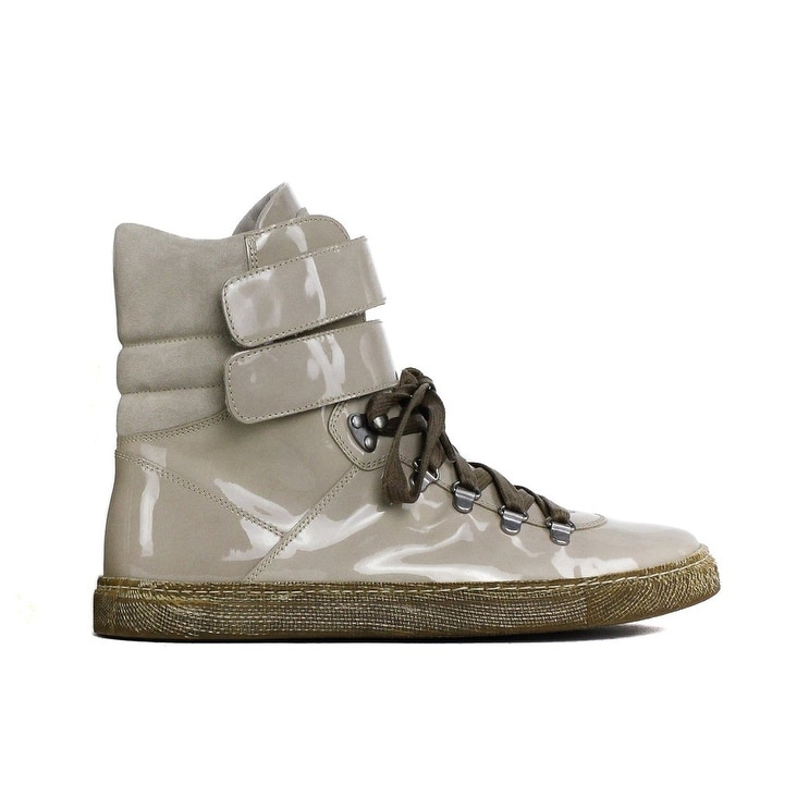 super popular 257ac 9ece2 Brunello Cucinelli Women Beige Patent Leather High Top Sneakers RTL$995