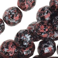 Czech Fire Polished Glass, Faceted Round Beads 8mm, 20 Pieces, Tweedy Red