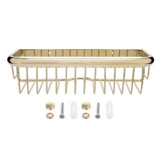 12-inch Length Brass Rectangle Shape Bathroom Shower Caddy Basket Gold Tone