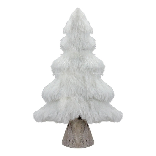 """16.5"""" Winter's Beauty White Faux Fur Holiday Tree Table Top Decoration"""