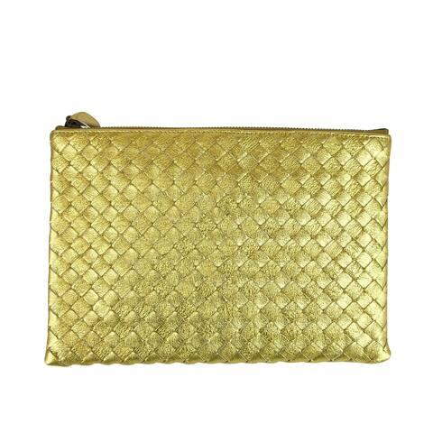 Bottega Veneta Intrecciato Woven Gold Leather Clutch Pouch Bag 302293 8417 - One size