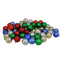 """60ct Traditionally Colored Shatterproof Shiny and Matte Christmas Ball Ornaments 2.5"""" (60mm) - Red"""