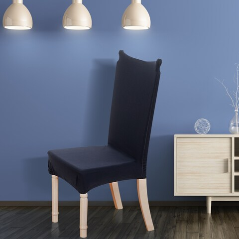 Unique Bargains Dark Blue Soft Stretchy Washable Dining Chair Cover