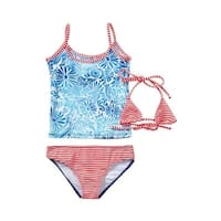Azul Little Girls Blue Red Dot Floral American Dream 3 Pc Trikini Swimsuit