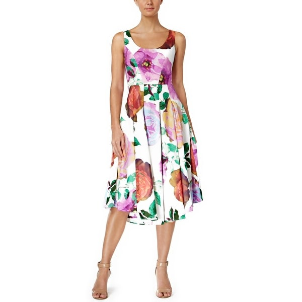 614a237b1f Shop Calvin Klein Floral Print Sleeveless Midi Fit   Flare Cocktail Dress -  4 - Free Shipping Today - Overstock - 21010250