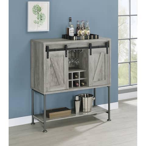 Grey Driftwood Sliding Door Bar Cabinet with Lower Shelf