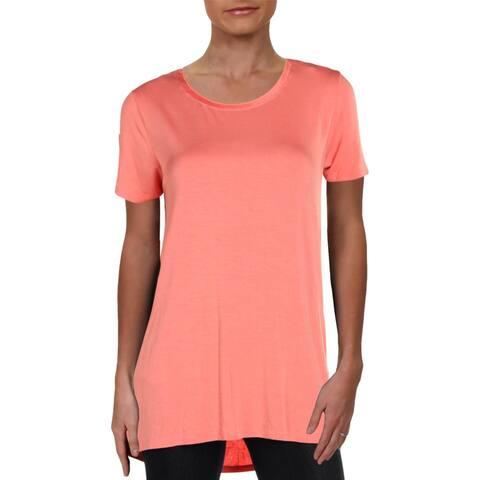 Donna Karan Womens Pullover Top Crew Neck Short Sleeves