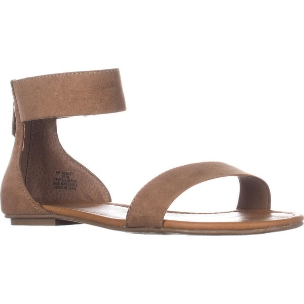 AR35 Keley Ankle Strap Flat Sandals, Camel