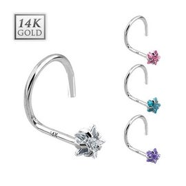14 Karat Solid White Gold Prong Star CZ Nose Stud Ring - 20 GA (Sold Ind.)