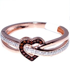 Heart Ring Rose Gold Cognac and White diamonds 0.15ct Diamonds 10K Fashion Promise Ring(i2/i3, I/j) By MidwestJewellery