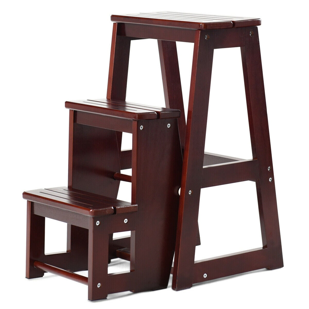 Prime Costway Wood Step Stool Folding 3 Tier Ladder Chair Bench Seat Utility Multi Functional As Pic Andrewgaddart Wooden Chair Designs For Living Room Andrewgaddartcom