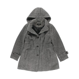Jones New York Womens Plus Tweed Button Front Coat