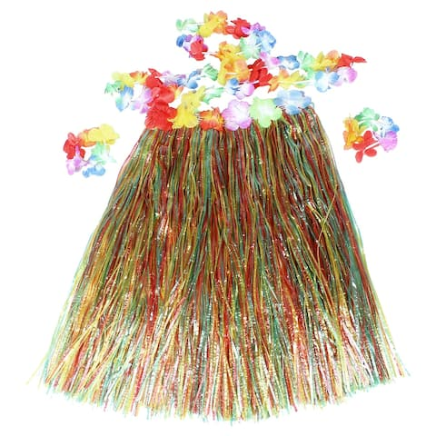 Halloween Unique Bargains Women Colorful Flower Elastic Waist Hawaiian Hula Grass Skirt + Floral Ring