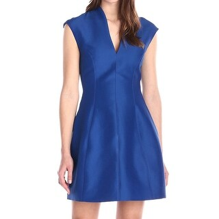 Halston Heritage Indigo Blue Womens 4 V-Neck Faille A-Line Dress