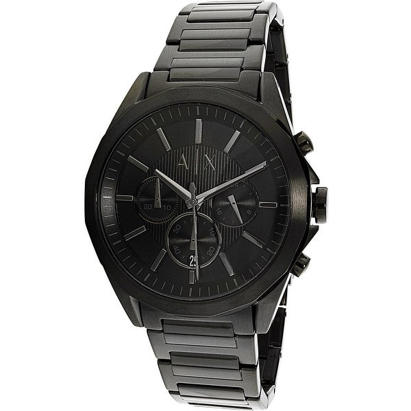 f662b5f09f34 Shop Armani Exchange Men s Black Stainless-Steel Quartz Fashion Watch -  Free Shipping Today - Overstock - 18616841