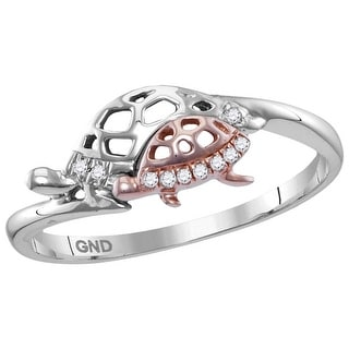 Sterling Silver Womens Round Natural Diamond Rose Turtle Animal Band Fashion Ring 1/20 Cttw - White