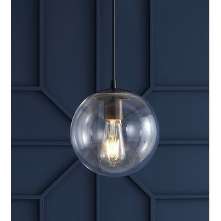 "Link to Bleecker 7.75"" Metal/Glass Globe LED Pendant, Clear/Oil Rubbed Bronze by JONATHAN  Y Similar Items in Pendant Lights"