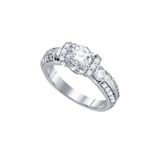 14k White Gold Womens Natural Round Diamond Bridal Wedding Engagement Anniversary Ring 1 & 1/2 Cttw