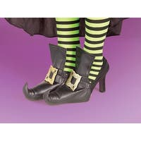 Gold Witch Costume Shoes Covers - Black