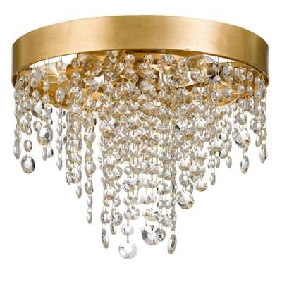 Winham 4 Light Antique Gold Crystal Ceiling Mount - 16'' W x 13'' H