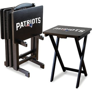 Official Licensed New England Patriots NFL Football TV Snack Trays with Storage Racks (Set of 4)