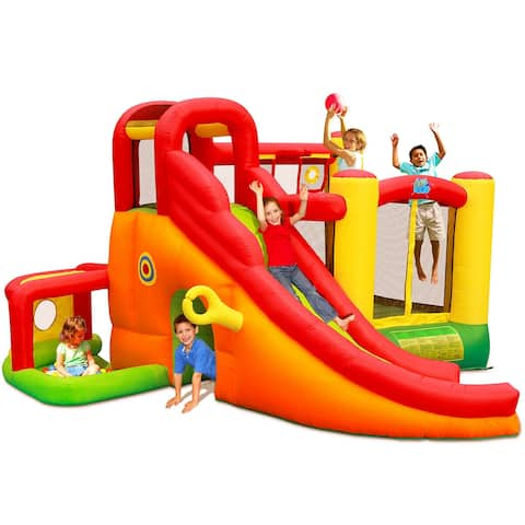 Costway Inflatable Bounce House Slide Bouncer Kids Castle Jumper w/Balls and 780W Blower - as pic