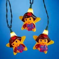 Set of 10 Dora the Explorer Novelty Christmas Lights - Green Wire - YELLOW
